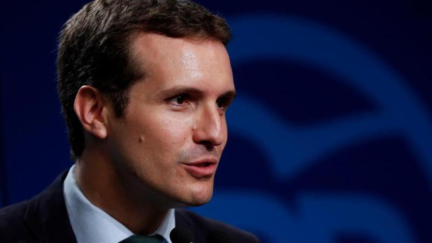 El presidente del PP, Pablo Casado, durante una comparecencia en la sede de su partido.