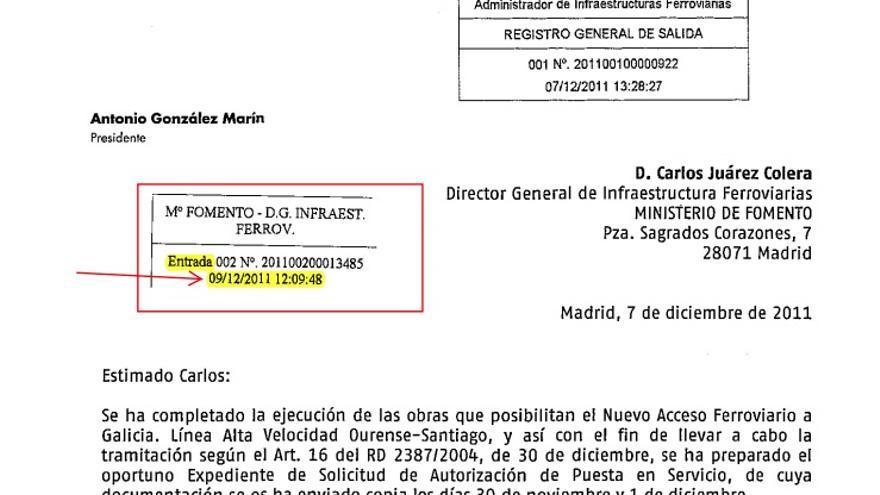 Petición de Adif de puesta en servicio de la línea con entrada en Fomento el 9 de dicembre de 2011 a las 12:09 horas
