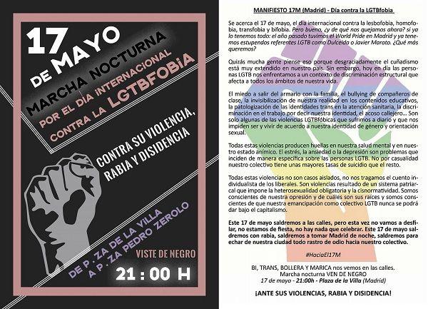 Cartel de la manifestación del 17 de mayo contra la LGTBfobia
