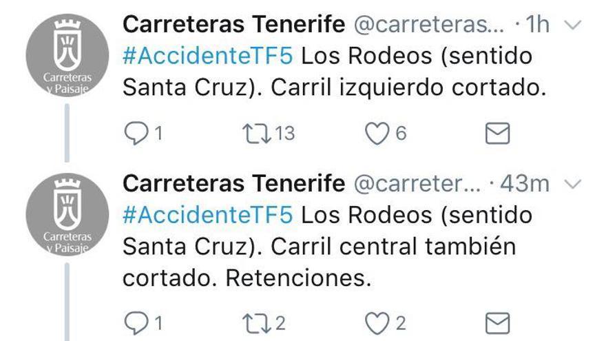 Aviso del Cabildo en Twitter del accidente de este jueves en la TF-5