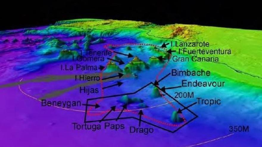 Montes submarinos al suroeste de Canarias