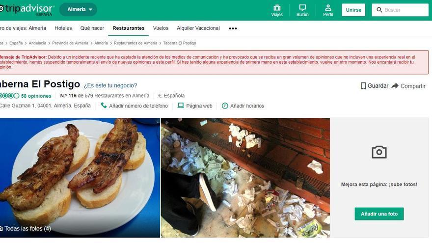 Aviso de TripAdvisor en la página de la Taberna Postigo.