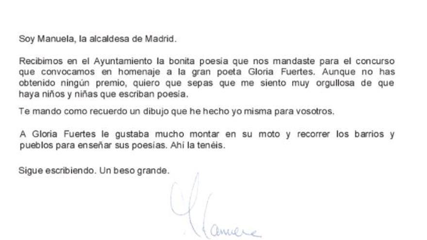 Carta de Manuela Carmena a los niños que participaron en el concurso de poesía en homenaje a Gloria Fuertes