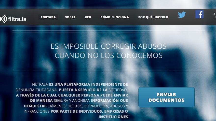Captura de pantalla de la web de filtrala.org