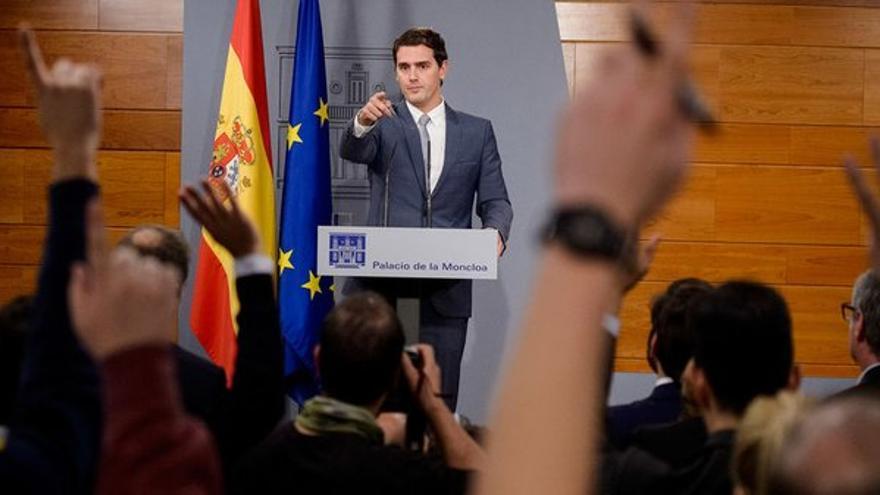 Albert Rivera, en la rueda de prensa en Moncloa tras reunirse con Rajoy. / Ciudadanos