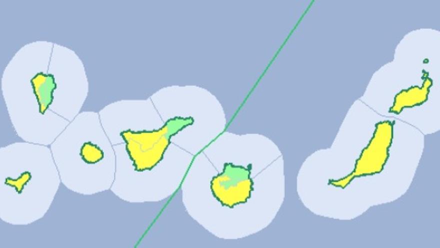 Avisos amarillos por vientos fuertes en Canarias este lunes