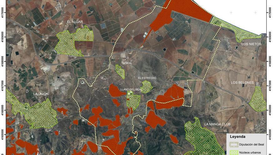 Las áreas en rojo son las que presentan más contaminación en la Sierra Minera