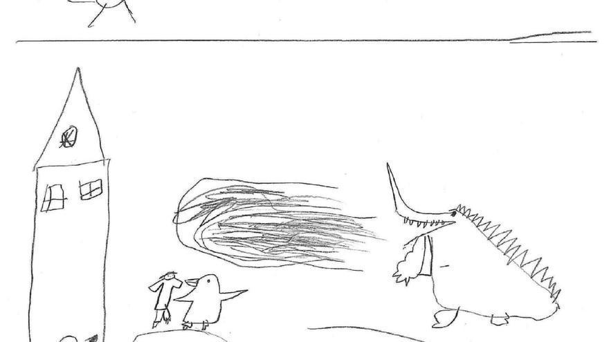 Dibujo realizado por un niño de 6 años. Tema: el miedo.