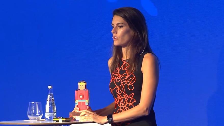 Rebeca Minguela, la única española elegida por el Foro de Davos entre los 100 jóvenes líderes mundiales, en un foro de Innovación del BBVA.