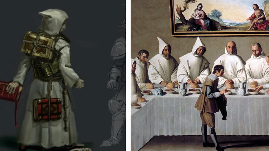 Izquierda: enemigo Aserrado & Carthos. Derecha: 'San Hugo en el refectorio de los Cartujos (s. XVII)', de Francisco de Zurbarán