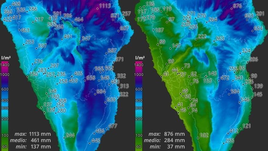 Mapa de HD Meteo La Palma de la lluvia registrada en la Isla en 2018 y 2019.