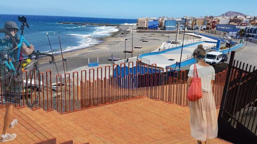 Modelo de la pasarela que unirá el paseo de El Burrero y el mirador en el lado norte.