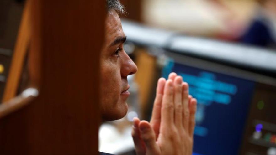 Sánchez, este miércoles en el Congreso, durante el debate de Presupuestos.