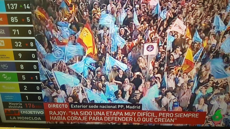 Foto tele. Celebración del PP en la calle de Génova.