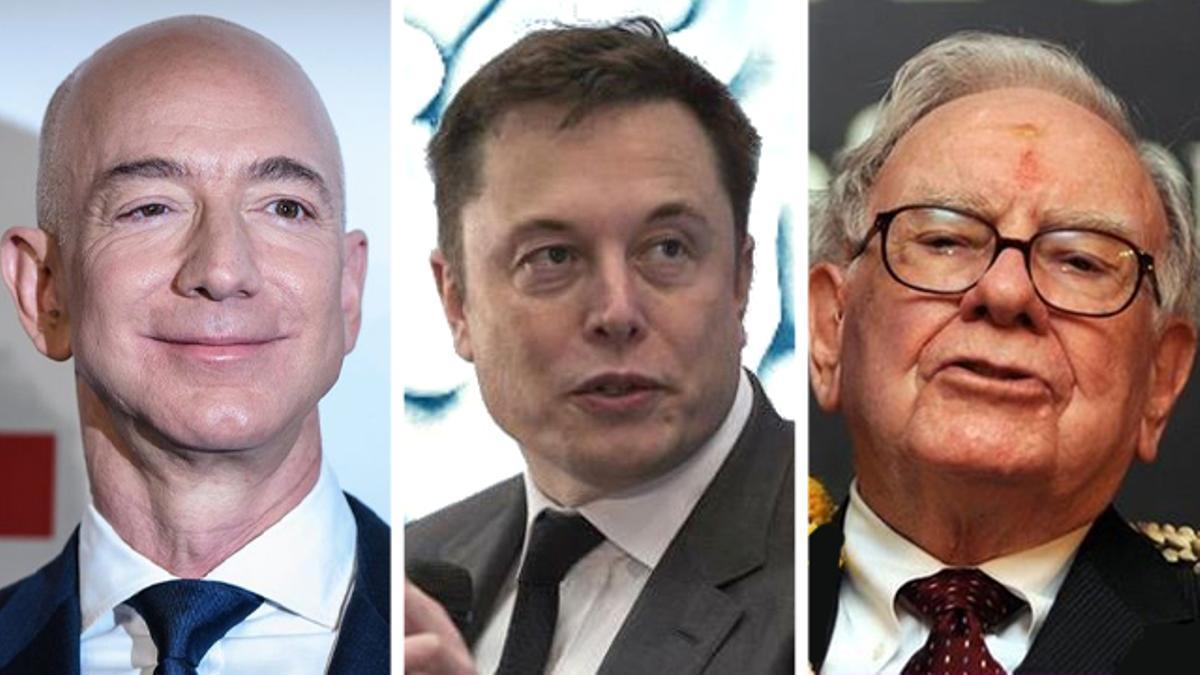 Jeff Bezos, Elon Musk y Warren Buffett