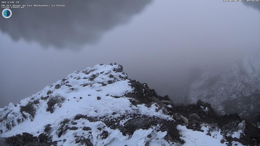 Imagen del entorno del Roque de Los Muchachos, en la mañana de este miércoles, 7 de febrero, captada de Sky Live TV IAC