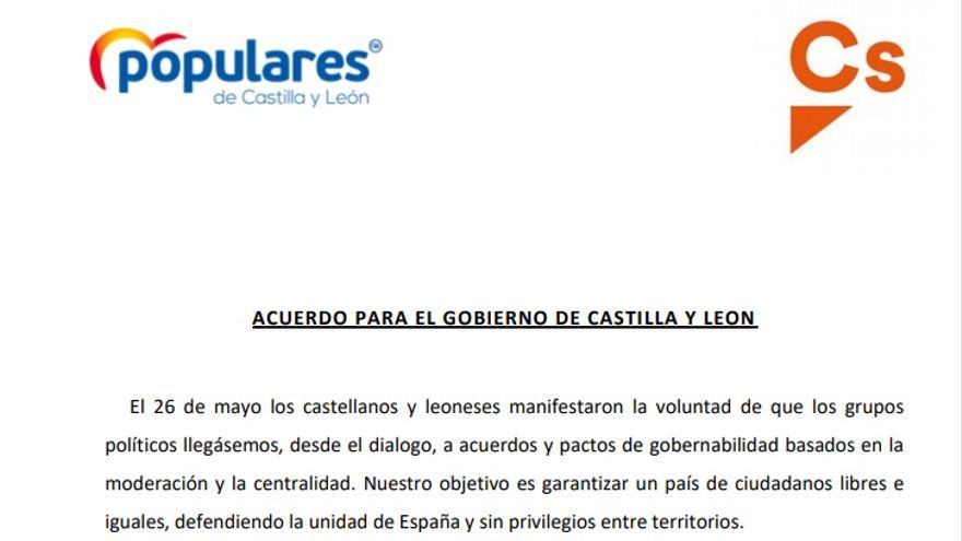 Documento del acuerdo para el Gobierno de Castilla y León