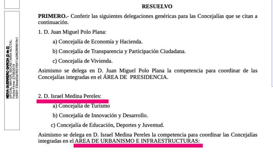Decreto del alcalde que hoy se iba a aprobar, con las delegaciones del único edil de Ciudadanos junto a las de Polo.