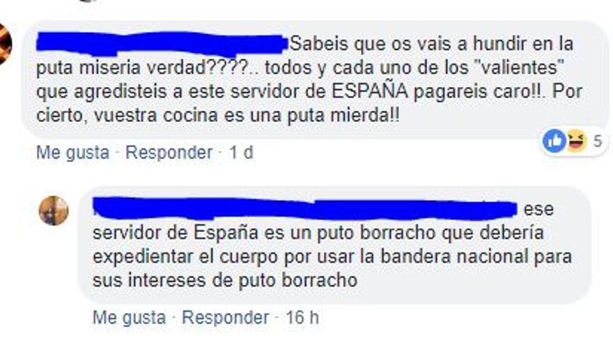 Mensajes de Facebook contra la Taberna Postigo.