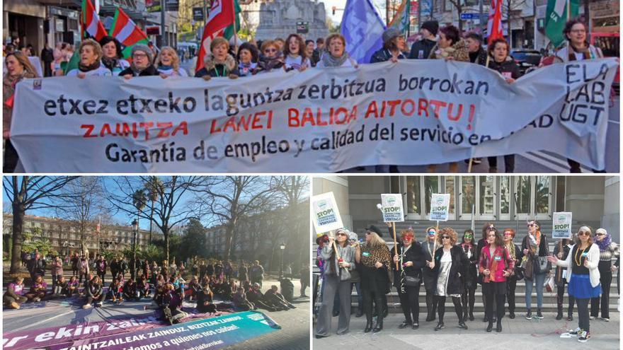 Arriba una manifestación de trabajadoras del hogar; abajo a la derecha de limpieza y a la izquierda de trabajadoras de residencias