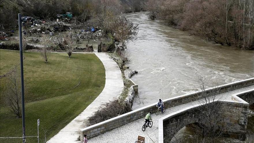 La crecida del Ebro sigue en máximos e inunda tierras de cultivo en Navarra
