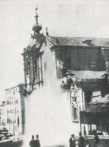 Imagen de Laurent de 1858. Inauguración de la llegada del agua a Madrid, en San Bernardo
