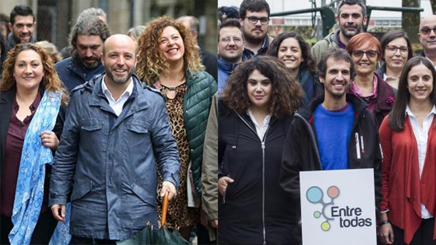 Candidaturas do actual portavoz de En Marea, Luís Villares, á esquerda, e dos críticos encabezados por David Bruzos