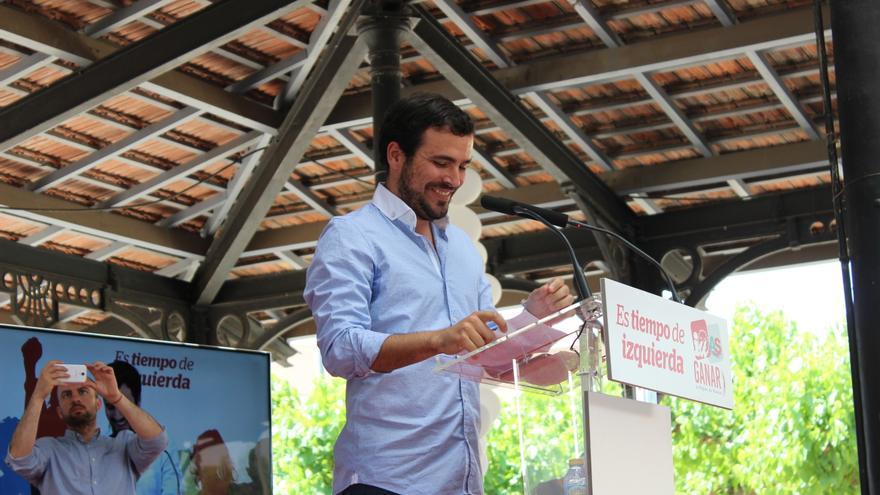 Alberto Garzón antes de tomar la palabra en Murcia / PSS