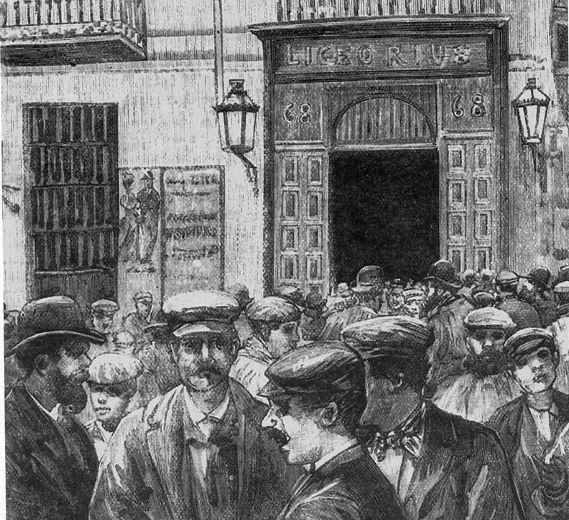 Grabado-ilustración de Comba de un grupo de trabajadores a la salida de un mitin en el Liceo Rius de la calle Atocha (Madrid) | http://es.wikipedia.org