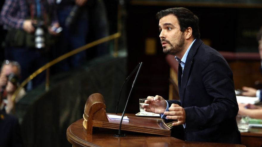 Alberto Garzón en la tribuna del Congreso de los Diputados