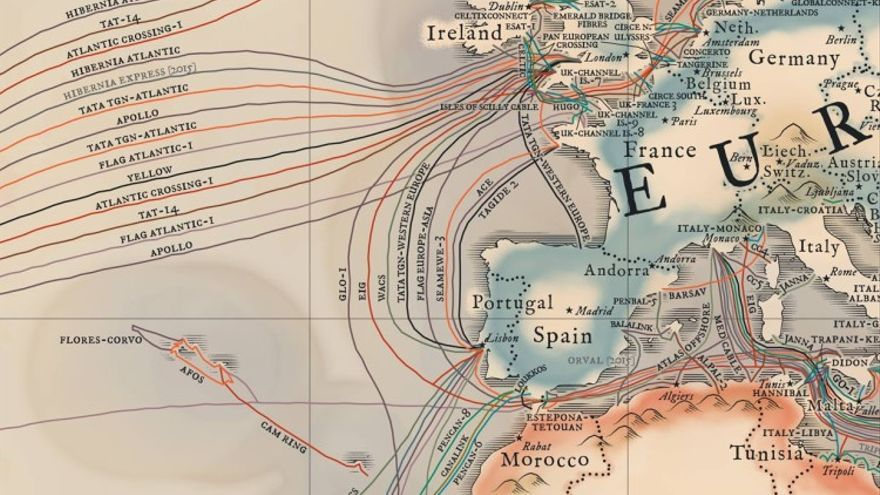 Detalle del mapa submarino de TeleGeography, 2015
