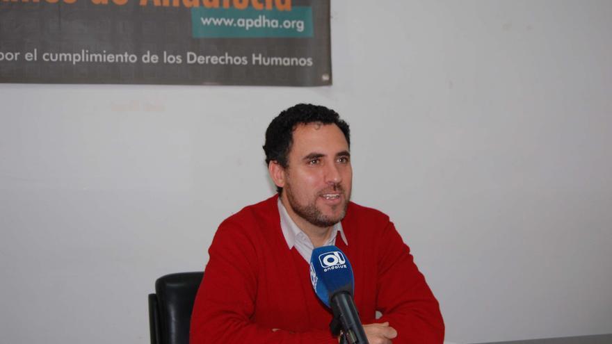 Valentín Aguilar, coordinador general de APDHA, hoy en Sevilla / Foto: APDHA