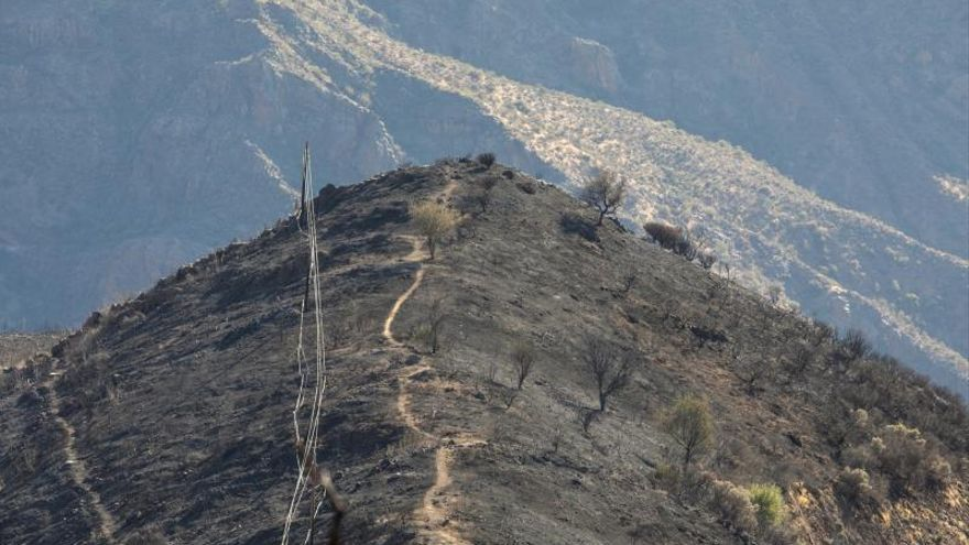 A black mantle of ash covers the heart of Gran Canaria