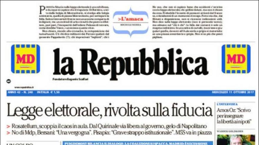 """""""Catalunya independiente, pero negociando"""": la portada de La Repubblica"""