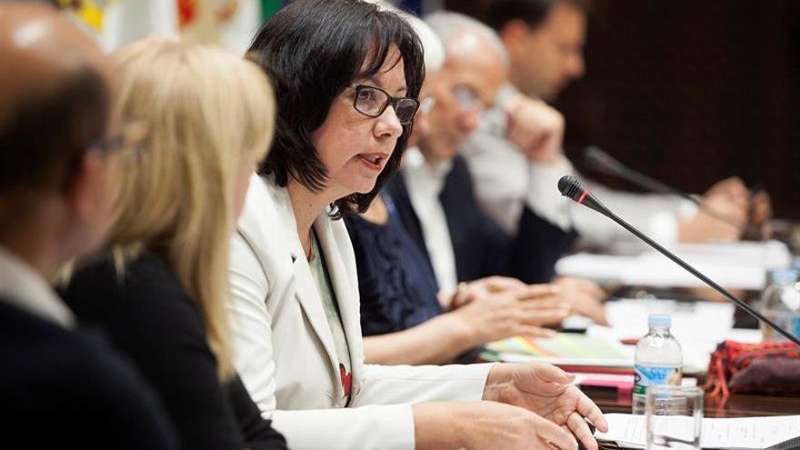 La consejera de Educación, Soledad Monzón, durante su intervención en la comisión parlamentaria.  EFE/Ramón de La Rocha