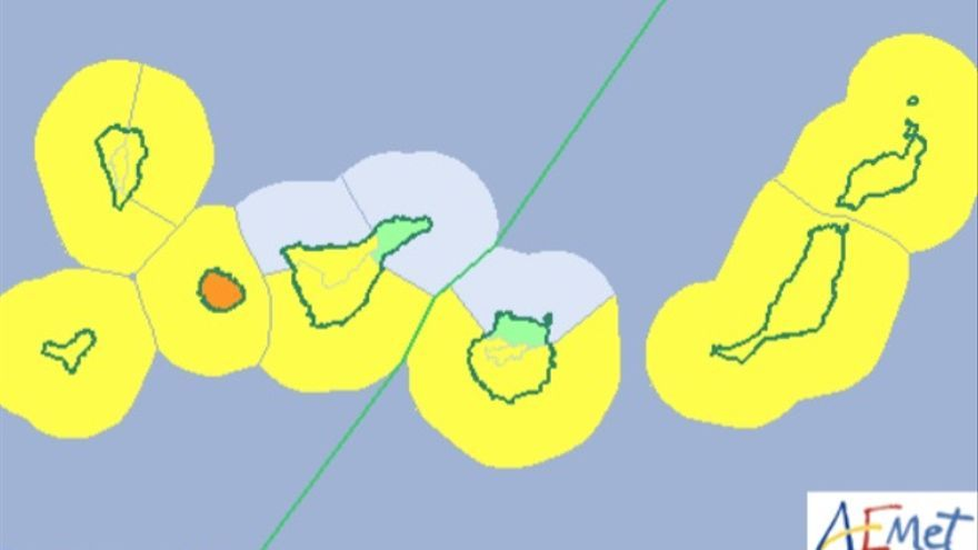 Mapa de los avisos de la Aemet para Canarias este lunes, 12 de noviembre