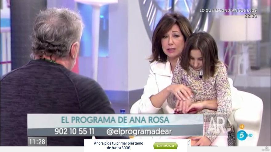 Fernando Blanco y su hija en el programa de Ana Rosa Quintana.