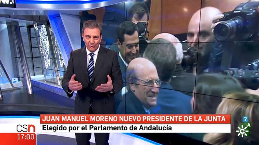 Carlos María Ruiz durante la conexión especial con motivo de la votación de investidura en Andalucía
