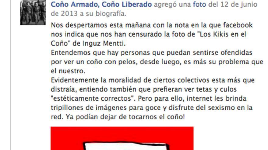 Facebook censura una imagen de la comunidad 'Coño armado, Coño liberado'
