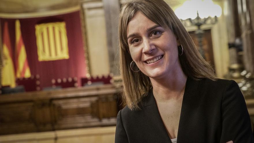 La líder de los 'comuns', Jéssica Albiach, en el Parlament de Catalunya