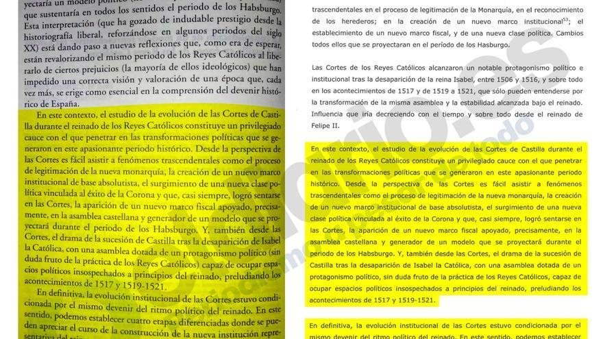 Una página original y otra del ejercicio del rector, en el que cita la obra antes del fin de la cita