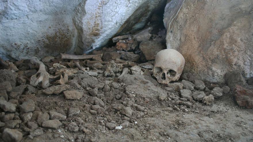Restos humanos excavados en la Cueva de los Cuarenta.