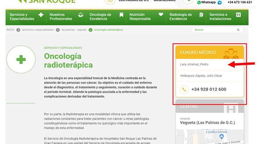 Contacto de Pedro Lara en la web de Hospitales San Roque