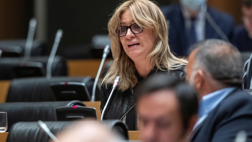 La diputada socialista Ana Prieto durnate su intervención en la Comisión para la Reconstrucción Social y Económica del Congreso.
