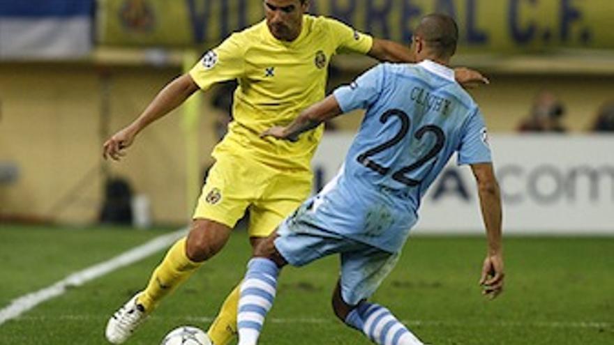 Ángel durante el partido ante el Manchester City. (villarrealcf.es)