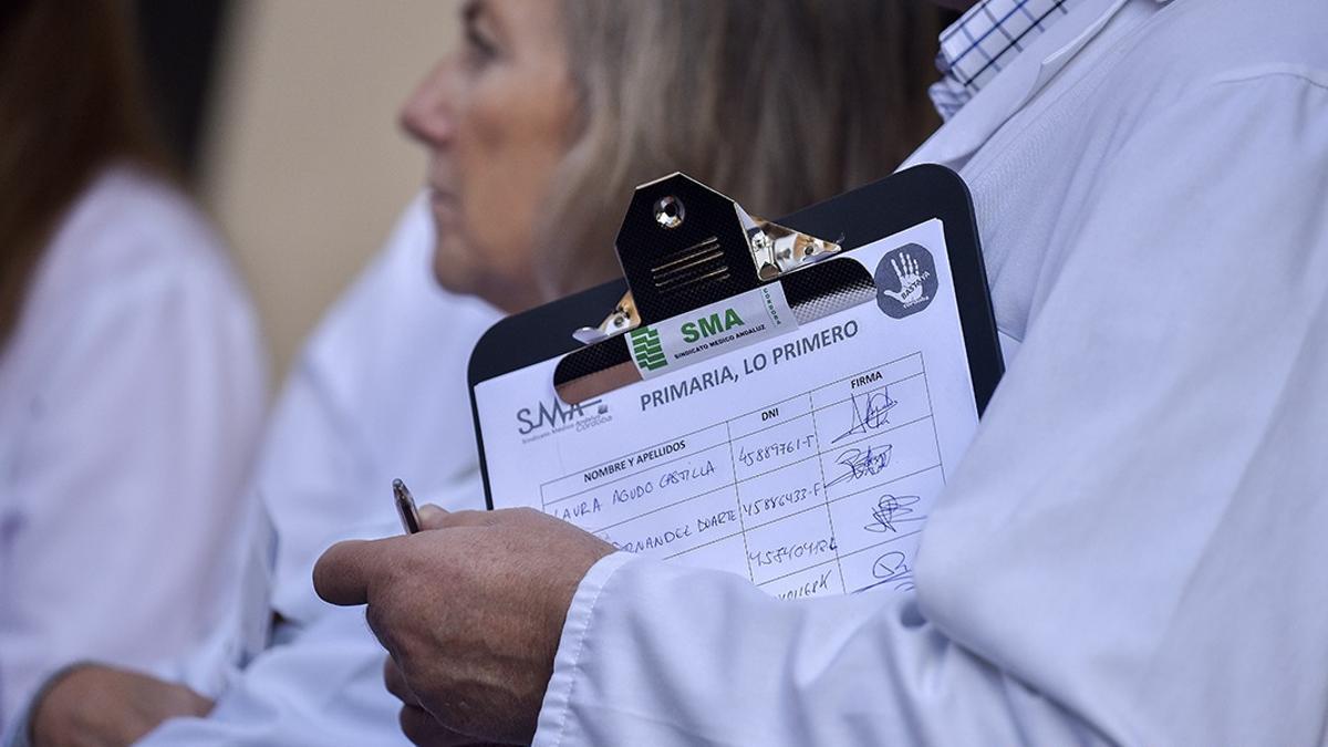 Imagen de una protesta de los médicos de Atención Primaria.