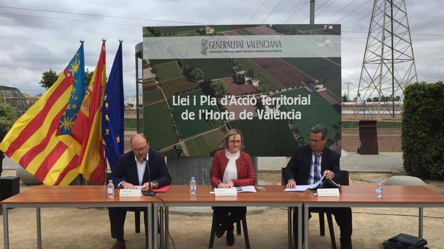 La consellera de Territorio, María José Salvador, en la presentación de la Ley y el Plan de Acción de Huerta