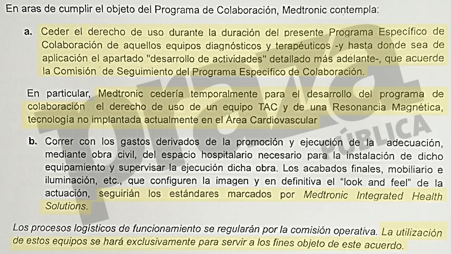 """Referencia a la """"cesión"""" de equipos en la parte del convenio con Medtronic que la Xunta trata como secreta"""