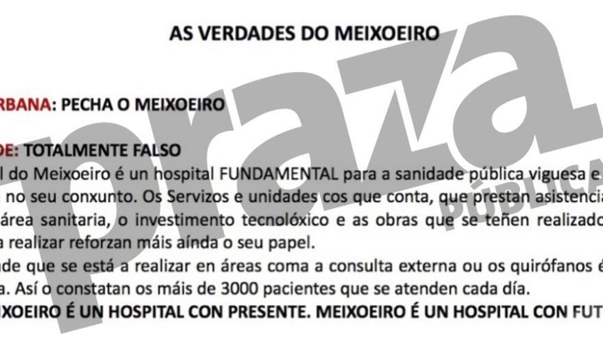 """Argumentario del Sergas a su personal en el que aseguró que iba a """"reforzar"""" el hospital Meixoeiro"""