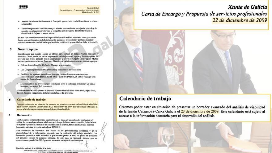 Referencia a la posibilidad de entregar el primer informe el 23 de diciembre en la carta de encago de los trabajos, datada en el día 22 del mismo mes